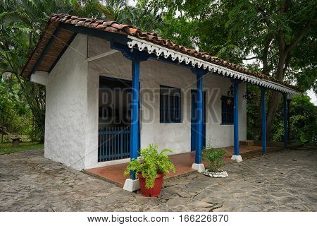 June 16, 2016 Panama City, Panama: colonial style shack in Panama City in Mi Pueblito outdoor museum