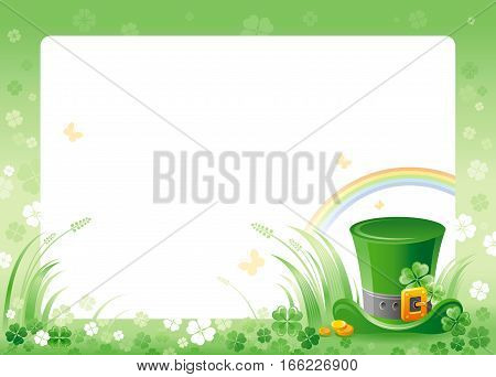 Happy Saint Patrick day. Leprechaun hat border corner, isolated white background. Shamrock clover leaves frame, rainbow, green grass. Traditional for Northern Ireland celtic holiday. Template poster.