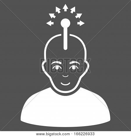 Optical Neural Interface vector icon. Flat white symbol. Pictogram is isolated on a gray background. Designed for web and software interfaces.