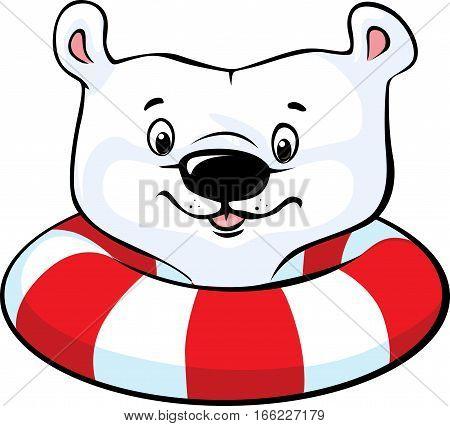 Polar Bear swim in inflatable ring - vector illustration