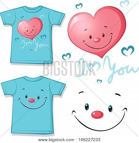 printed pink T-shirt - funny heart face - vector illustration
