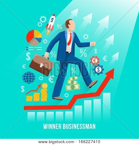 Successful businessman symbolic flat poster with winner rising along his profits red graph diagram line vector illustration