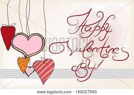 Vector card for Valentine's Day with handwritten text. The laconic style. Heart, stylized paper. Doodle, sketch.