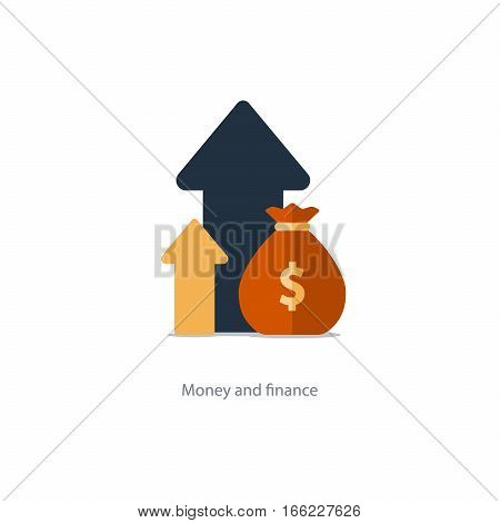 Compound interest, added value, financial investments in stock market, future income growth concept, revenue increase, money return, pension fund plan, budget management, savings account, banking vector illustration icon