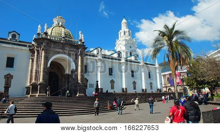 Quito, Pichincha / Ecuador - January 22 2016: Quito Metropolitan Cathedral in the Independence Square in the Historic Center. Historic Center was declared by UNESCO the first Cultural Heritage on 1978