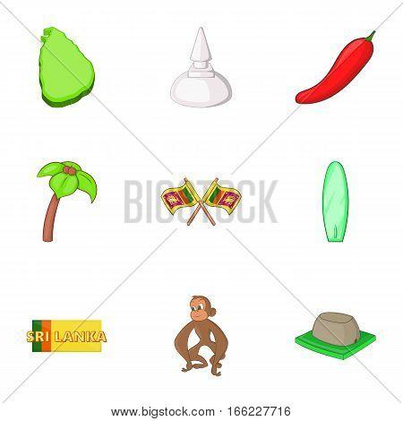 Sri Lanka elements icons set. Cartoon illustration of 9 Sri Lanka elements vector icons for web