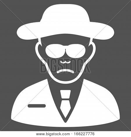 Security Agent vector icon. Flat white symbol. Pictogram is isolated on a gray background. Designed for web and software interfaces.