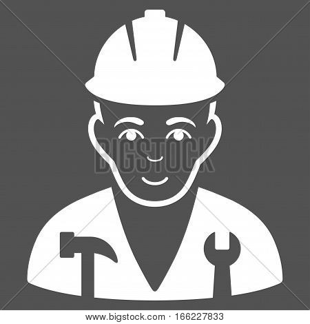 Serviceman vector icon. Flat white symbol. Pictogram is isolated on a gray background. Designed for web and software interfaces.