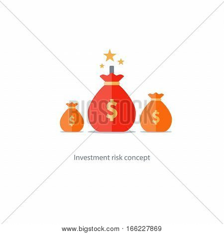 Investment risk, money gamble, financial debt, high stake, lottery chance vector illustration