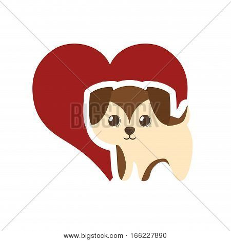puppy adorable pedigree red heart vector illustration eps 10