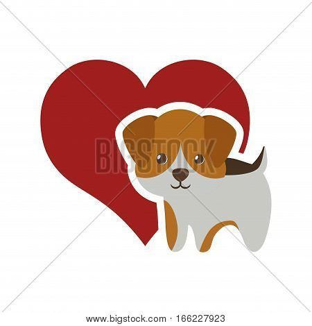 dog canine young standing red heart vector illustration eps 10