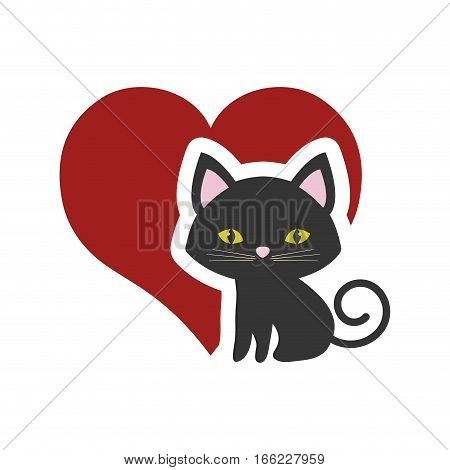 cat nose funny animal red heart vector illustration eps 10