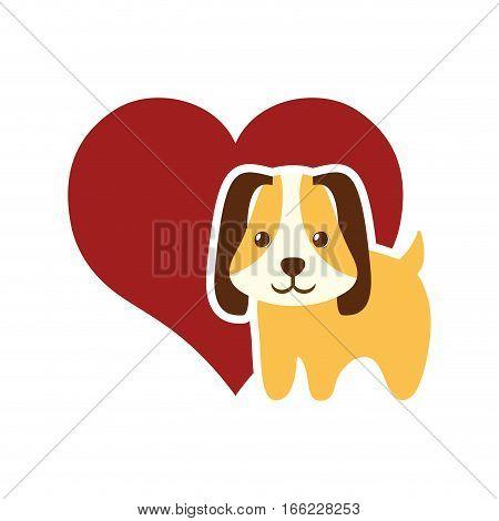 dog animal pet ear long red heart vector illustration eps 10