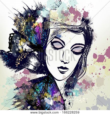 Fashion vector illustration with female face in beautiful butterfly wings