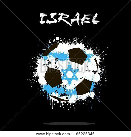 Abstract soccer ball painted in the colors of the Israel flag. Vector illustration