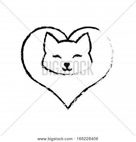 cat clossed eyes feline love sketch vector illustration eps 10