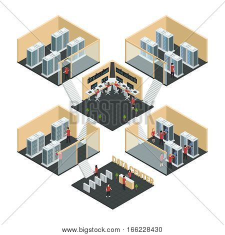 Datacenter server cloud computing isometric multistore composition with six room interior images  network enclosure and reception vector illustration