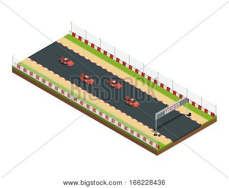 Car race track isometric composition with part of racing course with similar car images and flagging vector illustration