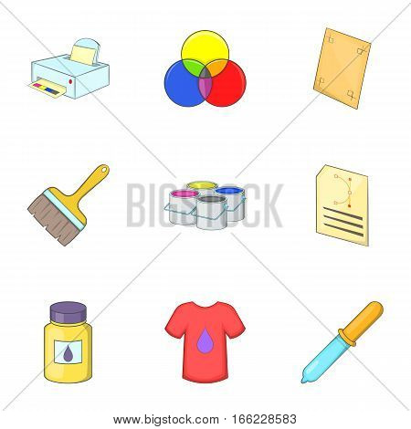 Printing icons set. Cartoon illustration of 9 printing vector icons for web