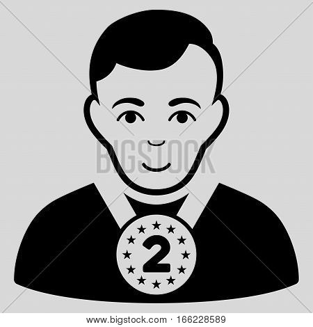 2nd Prizer Sportsman vector icon. Flat black symbol. Pictogram is isolated on a light gray background. Designed for web and software interfaces.