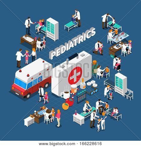 Pediatrics isometric composition with doctors and ill kids furniture medication and ambulance on blue background vector illustration