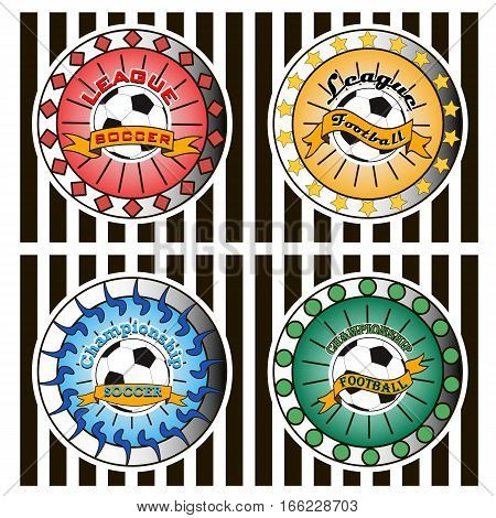 Set of soccer football logo. Template design isolated on white background. Vector Illustrations