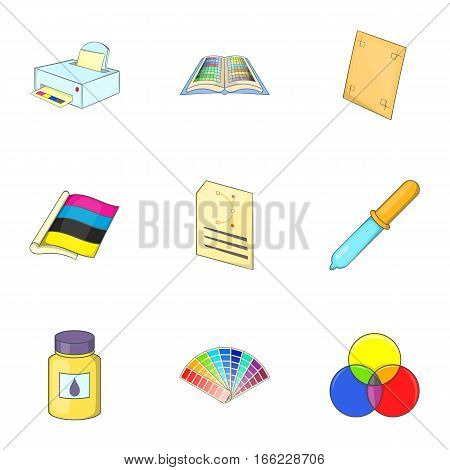 Palette and printer icons set. Cartoon illustration of 9 palette and printer vector icons for web
