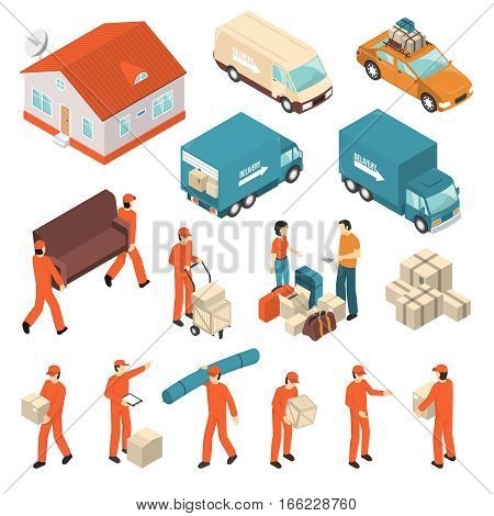 Moving company professional packing transportation unloading and delivery certified service isometric icons collection isolated vector illustration