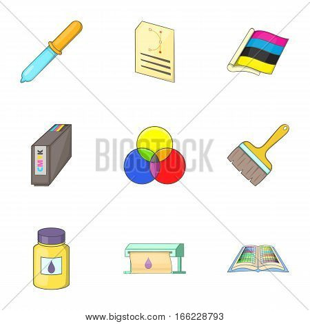 Print industry icons set. Cartoon illustration of 9 print industry vector icons for web