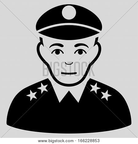Army General vector icon. Flat black symbol. Pictogram is isolated on a light gray background. Designed for web and software interfaces.