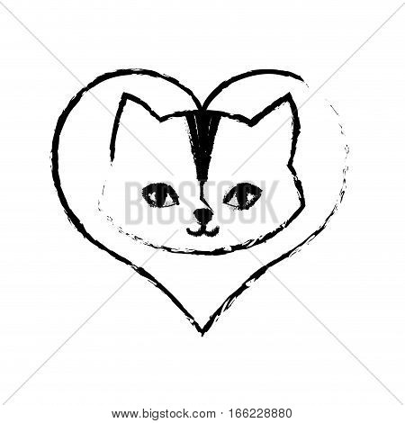 cat feline curious small love sketch vector illustration eps 10