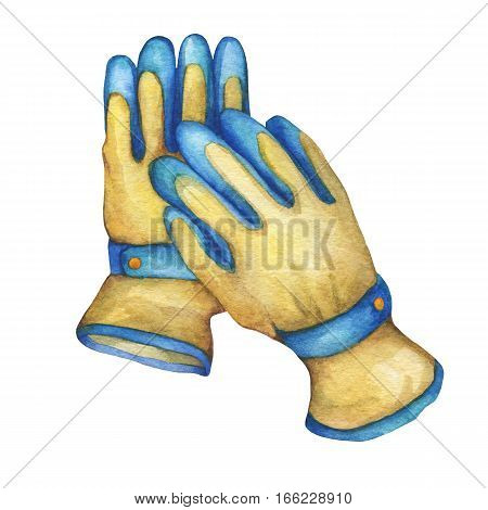 Non slip coated gloves gardening tool. Hand drawn watercolor painting on white background.