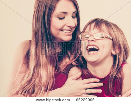 Happiness and love. Family relationships. Happy smiling mother with joyful daughter. Positive feelings