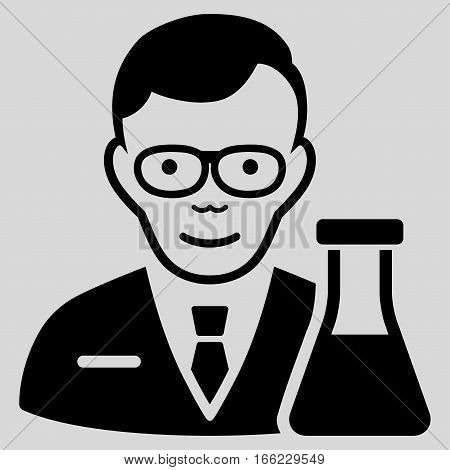 Chemist vector icon. Flat black symbol. Pictogram is isolated on a light gray background. Designed for web and software interfaces.