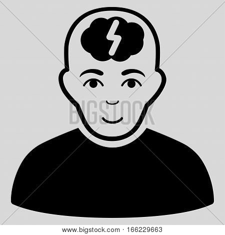 Clever Boy vector icon. Flat black symbol. Pictogram is isolated on a light gray background. Designed for web and software interfaces.