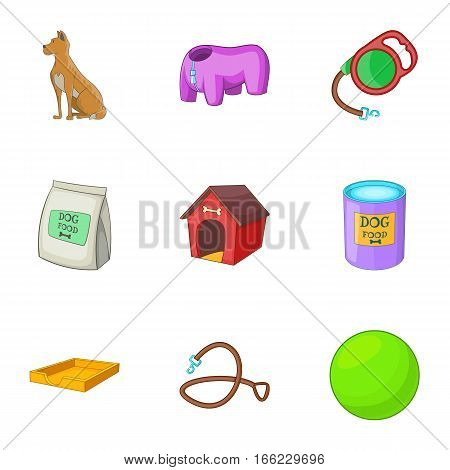 Dog care icons set. Cartoon illustration of 9 dog care vector icons for web