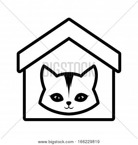 cat feline curious small house pet outline vector illustration eps 10