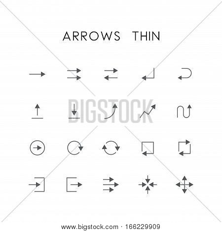 Arrows thin icon set - different elements, enter, back, upload, download, graph, refresh, log in, log out, zoom, move and others simple vector symbols. Website and design signs.