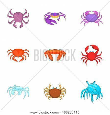 Seafood icons set. Cartoon illustration of 9 seafood vector icons for web