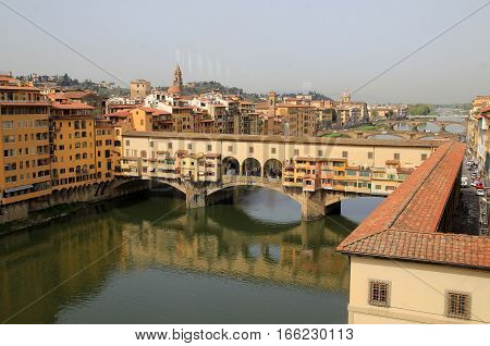 The city view of Florence in Italy with Ponte Vecchio bridge