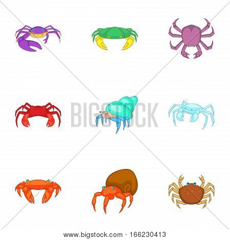 Crustaceans icons set. Cartoon illustration of 9 crustaceans vector icons for web