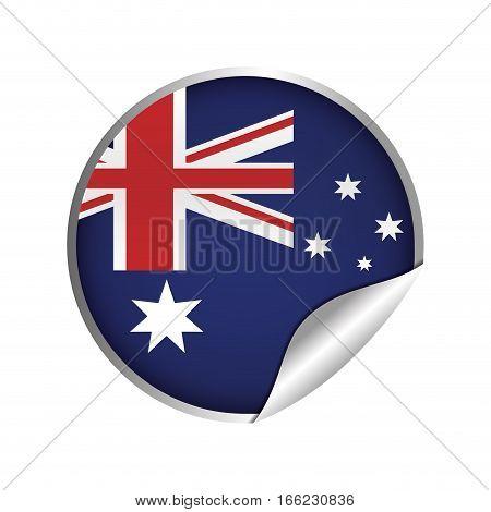 australian flag sticker badge icon vector illustration eps 10