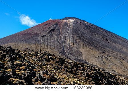 Landscape View Of Mt Ngauruhoe In Tongariro National Park, New Zealand