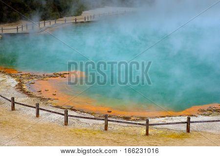 Landscape View Of Geothermal Pool At Wai O Tapu Near Rotorua, New Zealand