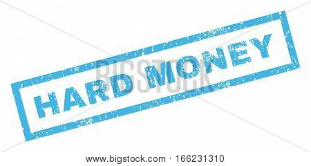 Hard Money text rubber seal stamp watermark. Tag inside rectangular banner with grunge design and unclean texture. Inclined vector blue ink sticker on a white background.