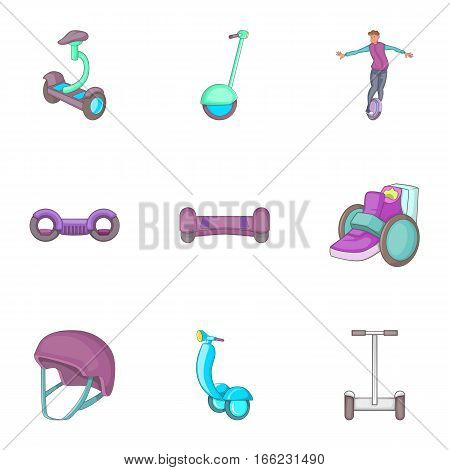 Modern urban transport device icons set. Cartoon illustration of modern urban transport device 9 vector icons for web