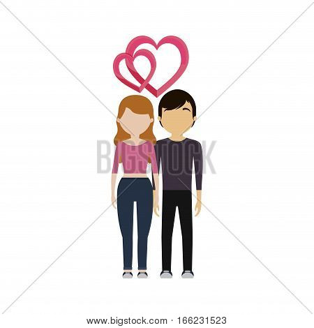 couple in love bound heart vector illustration eps 10