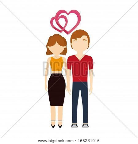 couple in love hearts affection vector illustration eps 10