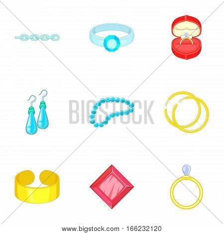 Luxury jewels icons set. Cartoon illustration of 9 luxury jewels vector icons for web