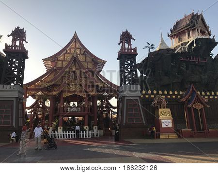 DUBAI, UAE - JAN 11: Thailand pavilion at Global Village in Dubai, UAE, as seen on Jan 11, 2017. The Global Village is claimed to be the world's largest tourism, leisure and entertainment project.